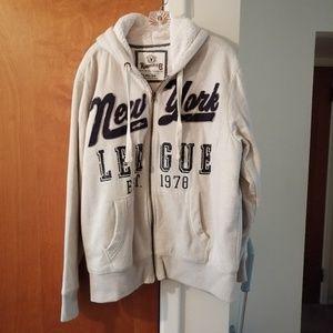 New York Hoodie jacket Roebuck cream blue XL